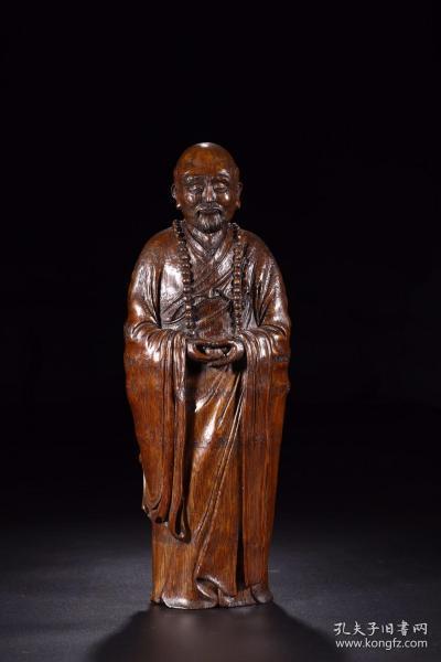 清代:竹雕罗汉立像