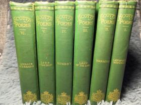 1875年 SCOTTS POEMS 《司各特诗选》  6本全 书顶刷金 每本均有一副藏书票 16X11CM