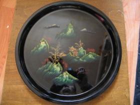 早期精致老漆盘手绘山水风景木胎漆盘
