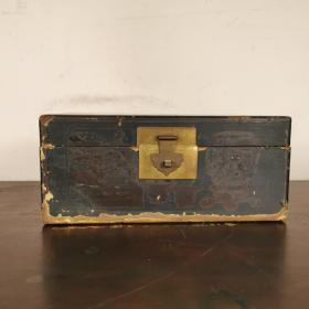 描金彩绘书盒古玩老木盒漆器盒怀旧老物件木器杂项收藏民俗文房盒