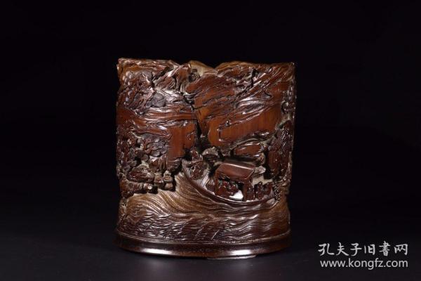 清代:竹雕赤壁游诗文笔筒