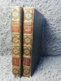 1823年 BRACEBRIDGE HALL OR THE HUMORISTS  BY GEOFFREY CRAYON  2本全 全皮装帧 烫金竹节皮脊 19.2X12CM