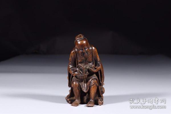 清代:竹雕采药摆件