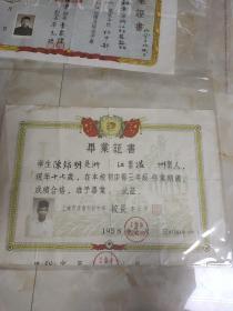 1958年上海市建南初级中学毕业证书