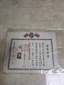 中华民国36年结业证书  上海市私立冶中女子中学  陈乃文毛笔签名
