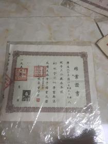 1954年沪西中等补习学校结业证书 看图