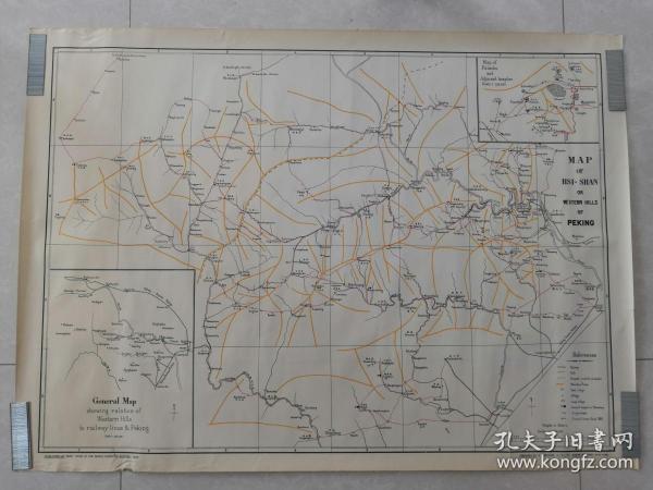 1933年 中英文对照 《 MAP OF HSI-SHAN OR WESTERN HILLS OF PEKING 》北京西山地图