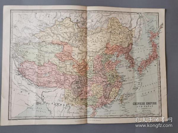 【现货 包顺丰】【标注钓鱼岛之古地图】1886年左右 英国出版 标注钓鱼岛之中国老地图, 极具历史研究价值, 44.2 x  31.8厘米。