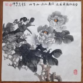 手绘真迹国画:天津市美协会员孙家跃墨牡丹 四尺斗方