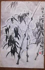 手绘真迹国画:天津市美协会员韩石教授墨竹