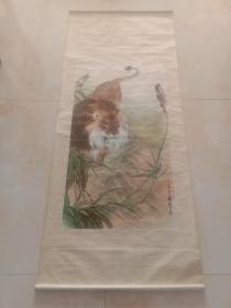 印刷品   刘继卣原作 天津杨柳青   1980年一版一印狮子  中堂