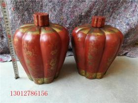 古董古玩漆器清代茶叶罐一对