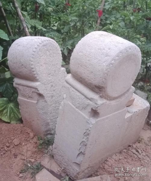 清代山西地方经典石雕----《民间抱鼓形门墩石》-----一对--------虒人荣誉珍藏