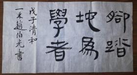 手书真迹书法:中书协会员赵伯光《脚踏地为学者》