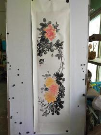 山东著名画家 上官超英 花卉长条  尺寸120x34