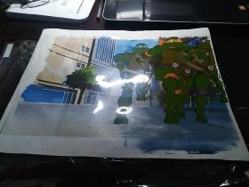 包邮动画片《忍者神龟》赛璐璐画稿一幅(尺寸:27.8*35.8)