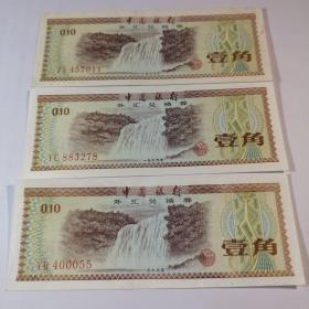 中国银行外汇兑换券一角纸币,黄果树瀑布1979年