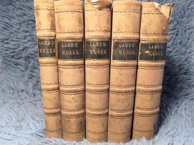 1838-1841年  Charles Lamb 和  Tales From Shakespeare   5本合售  半皮装帧  17.2X11.7CM    其中一本含大量插图
