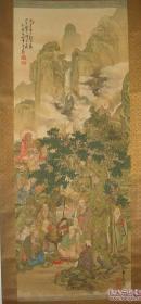 清晚期.日本明治大正时代著名画家铃木松年(1848-1918)画作:《十六罗汉图》.画中显示了罗汉们降龙伏虎,聚观宝器等神奇场面。佛经中讲,十六罗汉是释迦牟尼佛的弟子,他们遵佛的嘱托,不入涅盘,常住人间,普度众生。 此画卷为绢本,菱裱,象牙轴头,桐木盒子。佛家子弟的稀世珍品   (暂定价40万元)   (13)