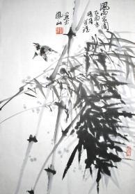 浙江著名画家 张万琪 风雨家园 花鸟小中堂 手绘国画