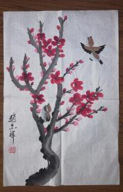 手绘赵忠祥款花鸟画