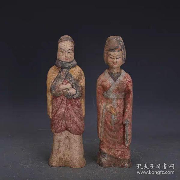 唐彩绘雕塑夫妻佣