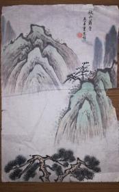 手绘真迹国画:天津美协会员、梁崎弟子曹恩祥小品画《秋山萧寺》