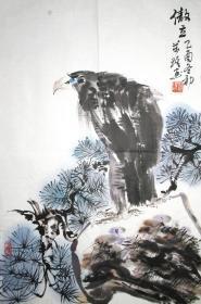 浙江著名画家 张万琪 傲立 花鸟小中堂 手绘国画