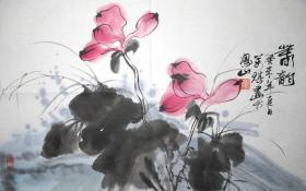 浙江著名画家 张万琪 春韵 花鸟横幅 手绘国画
