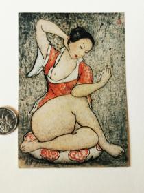 1993前后,潘张玉良画作《读书女》、司有华水彩画~《皖南农宿》老照片两种