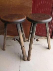 清代老圆凳一对,红榉木,可做花架