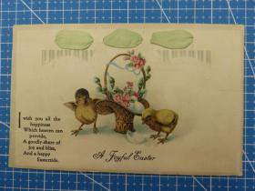1910年左右欧洲(小鸡和花篮图)凸版、复古、问候祝福--手账、收藏专用--手写明信片(96)