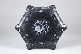 创汇时期   漆器镶嵌螺钿花几