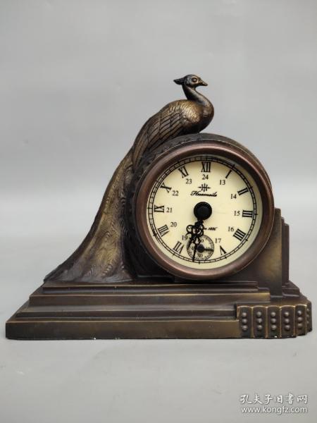 纯铜凤凰机械表摆件 尺寸如图,重570克 ,