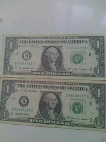 美元 1美元 钱币收藏 外国纸币 ( 2张合售)