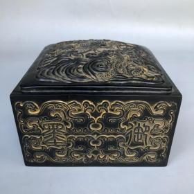 珍藏黑色寿山石微雕双龙戏珠博古印章