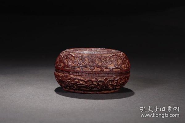 民国,竹雕缠枝团寿纹盖盒