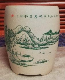 花盆:紫砂(段泥)唐诗画意(次北固山下)