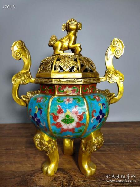 纯铜景泰蓝手工掐丝珐琅彩如意双耳八角狮盖熏香炉摆件103110
