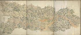 《彩绘湖北地图》:描绘湖北地区的府衙山川、江河湖泊、陆路水道等。另赠送湖广地图。清代彩绘本。罕见超高清。法国国家图书馆藏