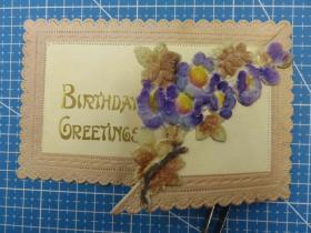 1910年欧洲(绒布鲜花图)凸版浮雕、折叠式、复古、问候祝福--手账、收藏专用--手写明信片、贺卡(53)