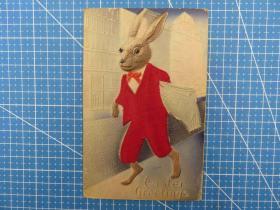 1910年欧洲(丝绸兔子图)凸版浮雕、厚纸复古、问候祝福--手账、收藏专用--手写明信片(107)