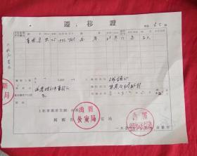 1958年禹县迁移证包老保真