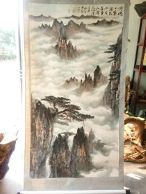 巨幅山水 原装旧裱 品相完好 到手即可悬挂  徐斌 作者不识 云雾缭绕 大气磅礴 画心尺寸170x90