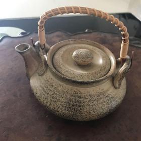 H-0362日本茶道具 备前烧茶壶  石斛扁壶/高7厘米