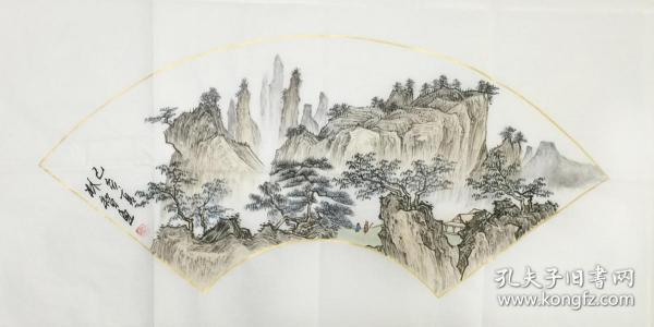 ?【保真】。【林智】中国书画家协会会员、手绘特价山水(69*34CM)1
