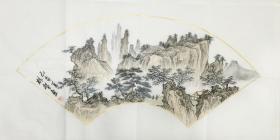 ?【保真】【林智】中國書畫家協會會員、手繪特價山水(69*34CM)1