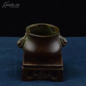 双耳紫铜香炉(珍玩款、铜质做工精美、小巧实用、包浆极佳)