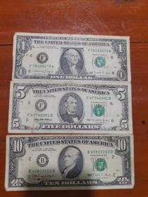 1988年1美金,1990年10美金,1995年5美金纸币