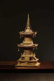 海外回流,昭和时期老木漆金佛塔,(原装老木盒)